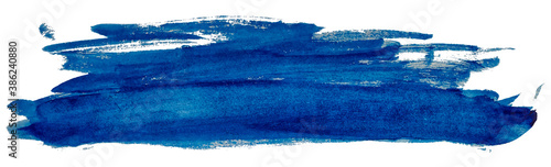 Long blue smear watercolor paint spot isolated on white background. - fototapety na wymiar