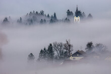 A Foggy Morning In A Typically Slovenian Landscape
