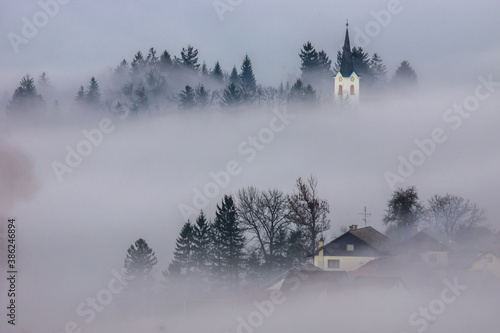 A foggy morning in a typically Slovenian landscape © Daniel Vincek