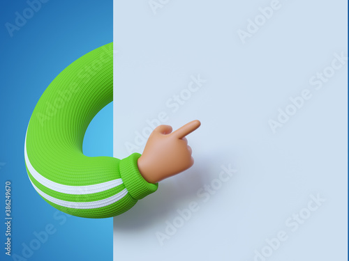 3d render, funny cartoon character hand in green sleeve, finger pointing to blank banner with copy space, white background Billede på lærred