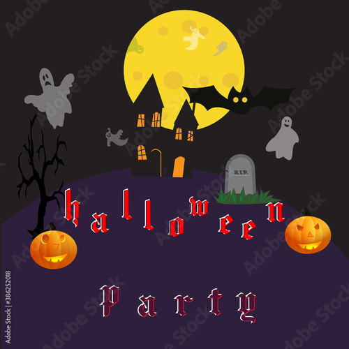 Banner, poster for Halloween, dark and incendiary, vector illustration Canvas Print