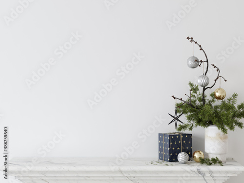 Obraz Living Room Christmas interior in Scandinavian style. Christmas tree, toys, gift boxes. Wall Mockup. Poster Mockup. Canva Mockup. 3d rendering, 3d illustration - fototapety do salonu
