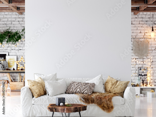 Living Room Christmas interior in Scandinavian style. Christmas tree, toys, gift boxes. Wall Mockup. Poster Mockup. Canva Mockup. 3d rendering, 3d illustration - 386259687
