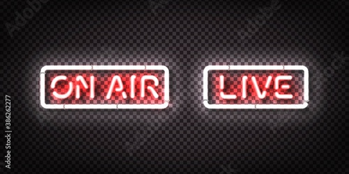 Vector set of realistic isolated neon sign of Live and On Air on the transparent backround. Concept of podcast and live streaming.