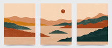 Vector Illustration. Abstract Contemporary Aesthetic Backgrounds. Landscapes Set. Earth Tone Colors. Boho Wall Decor. Modern Art Print. Flat Design For Book Cover, Poster, Banner, Brochure, Flyer
