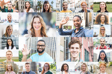 Happy Multiethnic People Portraits Collection - Group Headshots In Collage Mosaic Collection Showing Diversity And Happiness - Smiling Multicultural Faces Looking At Camera - Face Database