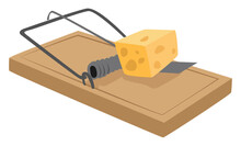 Mouse Trap, Illustration, Vector On White Background