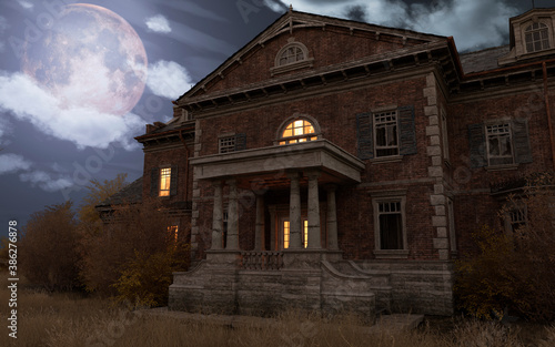 Valokuva Abandoned haunted house refuge of spirits moonlit night 3d illustration