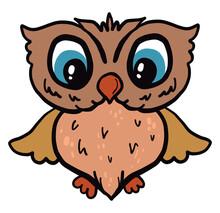 Scared Owl, Illustration, Vector On White Background