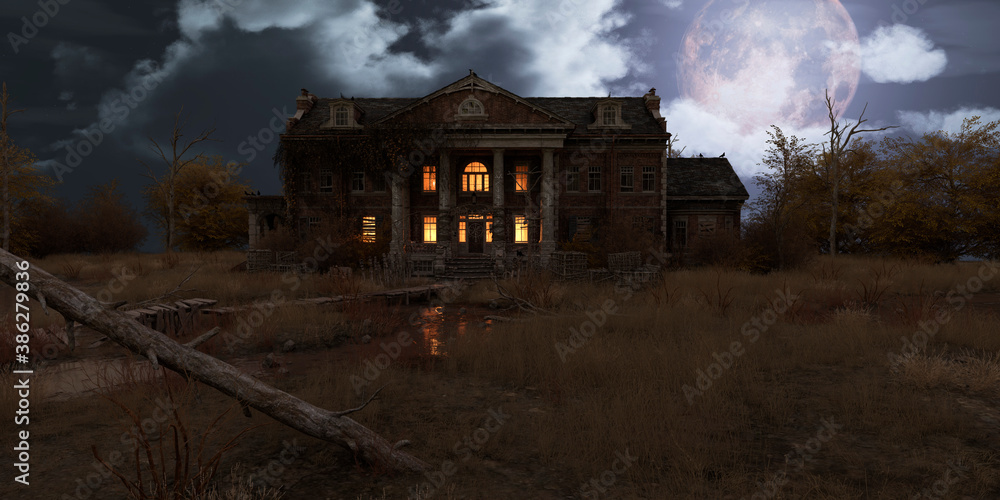Fototapeta Abandoned haunted house refuge of spirits moonlit night 3d illustration