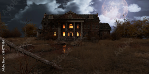 Valokuvatapetti Abandoned haunted house refuge of spirits moonlit night 3d illustration