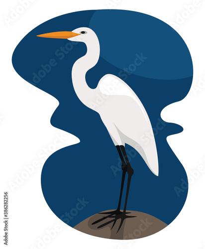 Naklejka premium White egret, illustration, vector on white background.