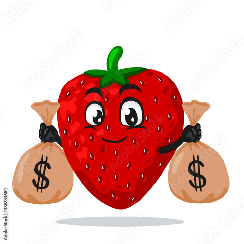Papel de parede vector illustration of strawberry mascot or character