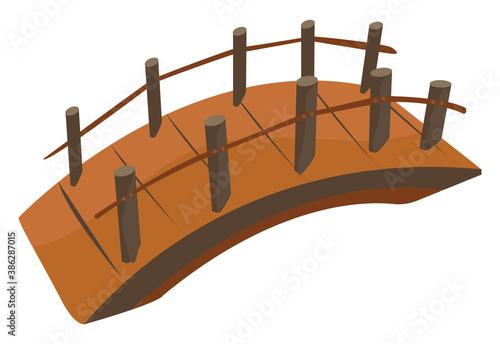 Wooden bridge, illustration, vector on white background