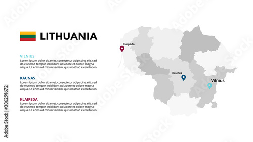 Lithuania vector map infographic template. Slide presentation. Global business marketing concept. Color Europe country. World transportation geography data.