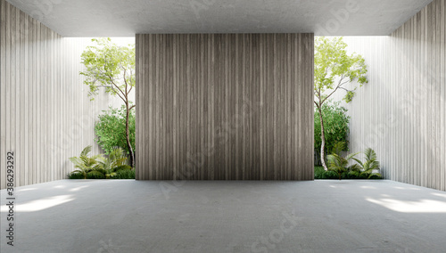 Fototapeta Empty old wood plank wall 3d render,There are concrete floor,Behide the backdrop is a tropical garden,sunlight shine into the room