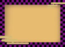伝統文様黒ベース紫の市松模様雲文様|和柄イラスト和風年賀状素材背景フレーム素材checkered Pattern