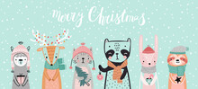 Christmas Card With Animals, H...