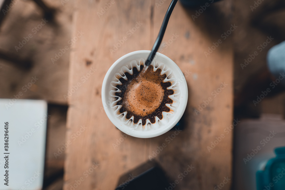Fototapeta  dripping coffee at home and slow coffee bar style