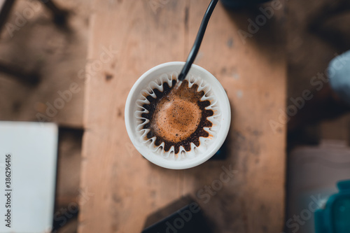 Fotografie, Obraz dripping coffee at home and slow coffee bar style