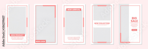 Obraz Set of rectangle editable minimal layout social media stories template pastel red color for personal or business. Use this layout for web, banner, poster or etc. For shop, discount, sale, etc. - fototapety do salonu