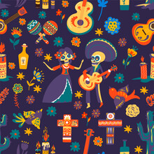 Day Of The Dead, Mexican Holidays Celebration Seamless Pattern