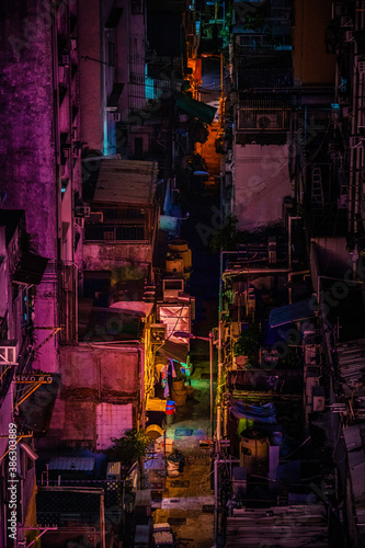 Obraz Night at dark back alley, Old town in Hong Kong, cyber color - fototapety do salonu