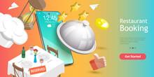 3D Vector Conceptual Illustration Of Table Online Reservation, Mobile Booking, Restaurant And Cafe Online Food Order App.
