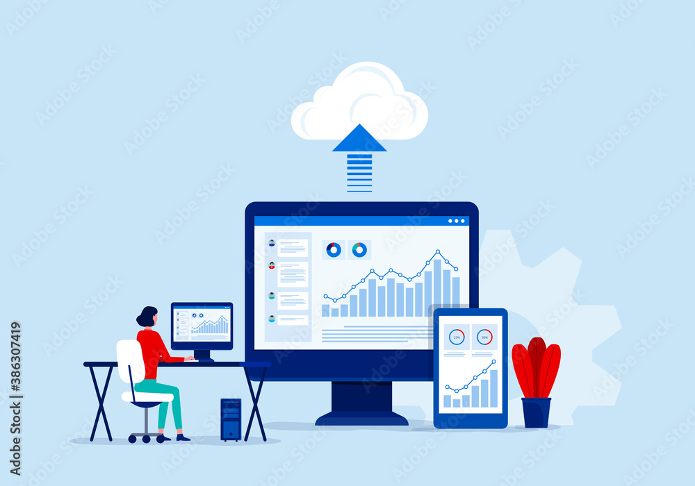 Fototapeta flat vector business technology cloud computing service concept and with developer team working   on dashboard monitor concept