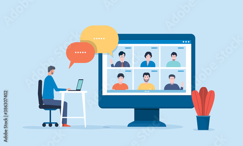 Obraz people connecting online with teleconference and video conference for meeting learning remote working and work from home concept. flat vector illustration design - fototapety do salonu