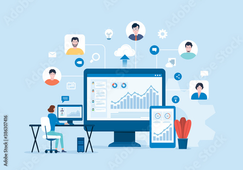 People business connecting online video conference connect for meeting remote working on dashboard finance graph monitor and work from home concept. flat vector illustration design