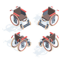 Wheelchair Isometric View. Medical Special Equipment People With Disabilities Comfortable Orthopedic Seats And Footrests Device Physical Rehabilitation Necessary Means Transportation. Vector Help.