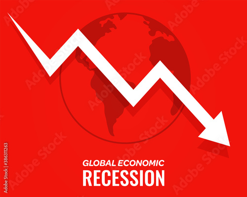 Cuadros en Lienzo global economic recession downfall arrow red background