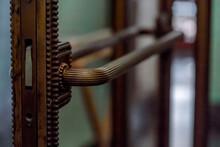 Copper Metallic Door Ornate Handle In Itlaian Cafe