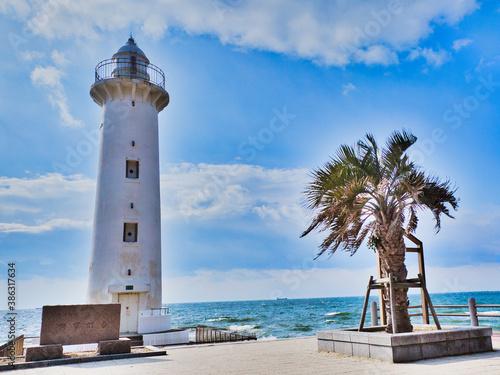 Valokuvatapetti 灯台と海の風景写真