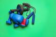 Leinwandbild Motiv Set of sport equipment on color background