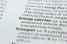 Word Or Phrase Troop Carrier In A Dictionary.