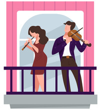 Musicians Playing On Balcony, Violinist And Flutist On Concert