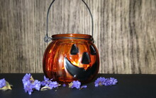 Halloween Pumpkin Lantern Made Of Glass
