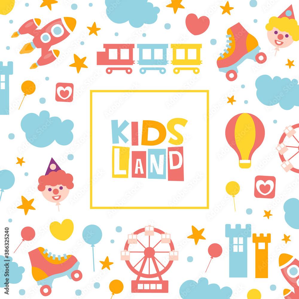 Fototapeta Kids Land Banner Template, Baby Club, Entertainment Playground Promo Poster with Amusement Park Elements Seamless Pattern Cartoon Vector Illustration
