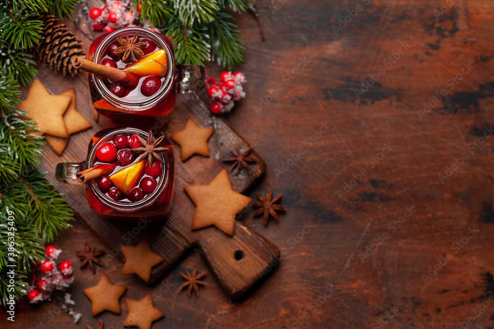 Fototapeta Christmas greeting card with cookies and mulled wine