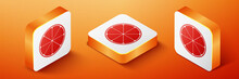Isometric Orange In A Cut. Citrus Fruit Icon Isolated On Orange Background. Healthy Lifestyle. Orange Square Button. Vector.