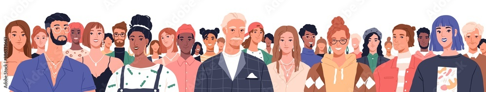 Fototapeta Portrait of diverse people standing together vector flat illustration. Group man and woman of different nationality and ages isolated. United of various generations. Social diversity or population