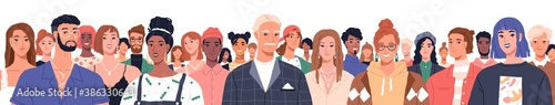 Portrait of diverse people standing together vector flat illustration. Group man and woman of different nationality and ages isolated. United of various generations. Social diversity or population - 386330643