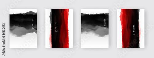 Fototapeta vector black and red ink brush stroke set
