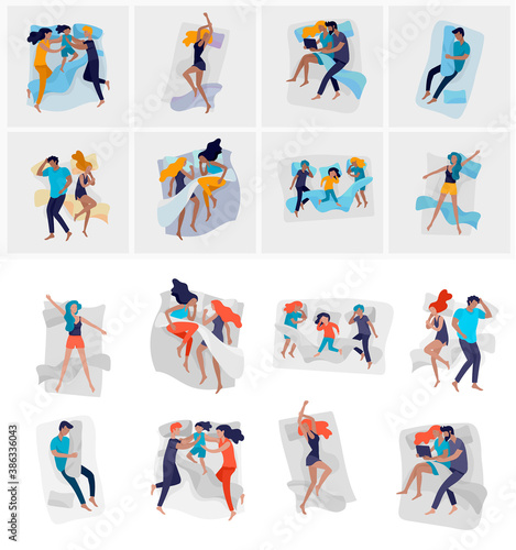 Obraz Collection of sleeping people character. Family with child are sleep in bed together and alone in various poses, different postures during night slumber. Top view. Colorful vector - fototapety do salonu
