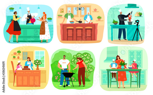 Fototapeta Set of people cooking food, collection of characters cook in kitchen, outdoors, with children and chef vector illustrations. Couple make bbq, mother and daughter baking, Grandparents with cookery. obraz na płótnie