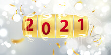 Happy New Year 2021 Background. Greeting Card Design Template Gold. Celebrate Brochure Or Flyer.