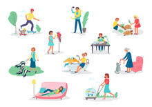 People With Pets Isolated Set Of Men And Women Holding Their Domestic Animals, Isolated Vector Illustrations Set. People With Dogs, Cats, Parrot And Unusual Pets Like Snake, Amphibia And Fishes.