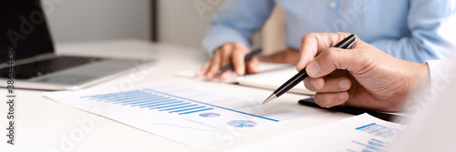 Business executives cooperation in sale data performance report. Fototapet